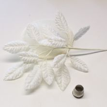 Spray of White Velvet Leaves  Milliner's Hat Trim